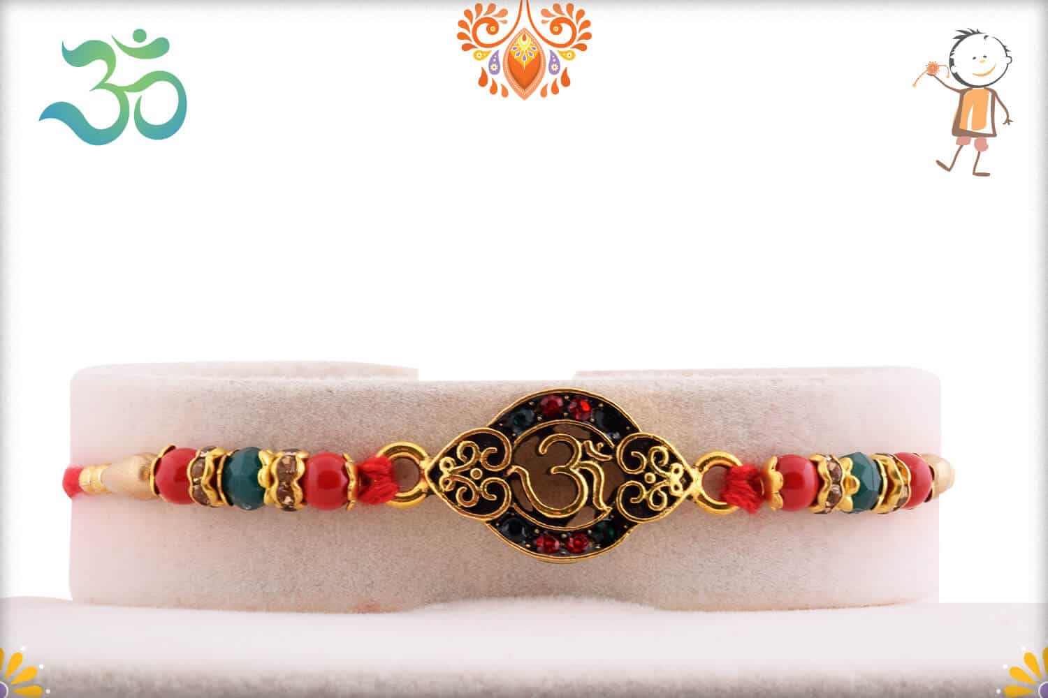 Unique OM Rakhi with Red-Green Beads 1