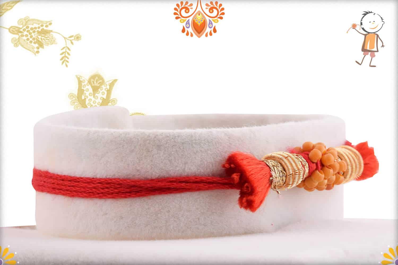 Uniquely Knotted Zardosi with Beads Rakhi 2
