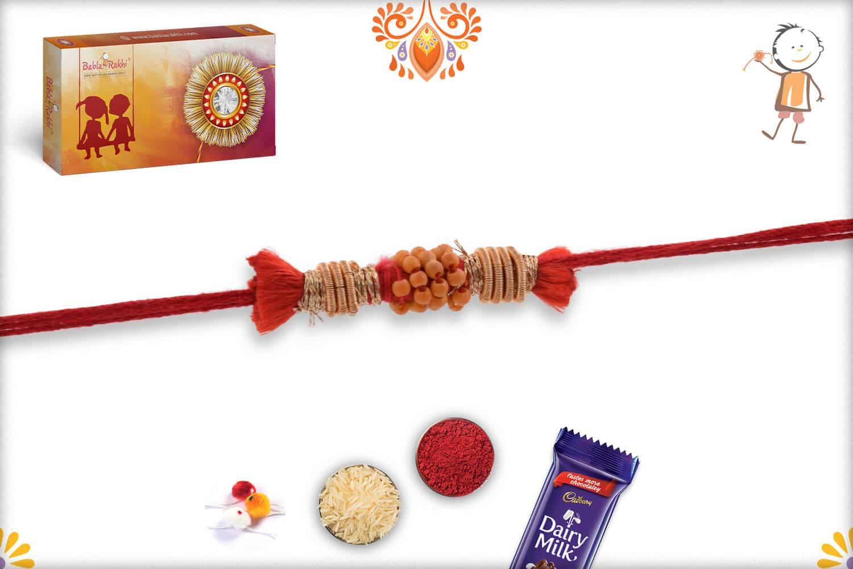Uniquely Knotted Zardosi with Beads Rakhi 3