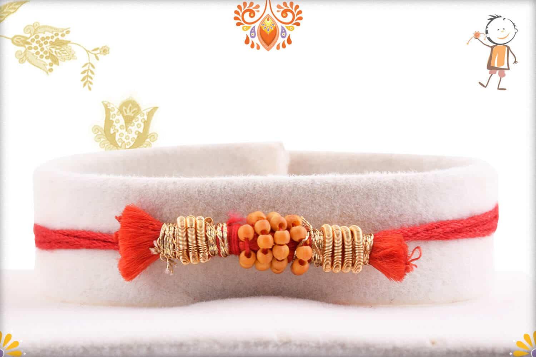 Uniquely Knotted Zardosi with Beads Rakhi 1