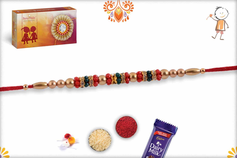 Traditional Golden Beads Rakhi with Diamond Rings   Send Rakhi Gifts Online 2