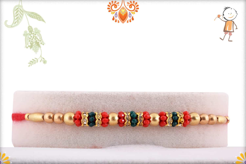 Traditional Golden Beads Rakhi with Diamond Rings   Send Rakhi Gifts Online 1