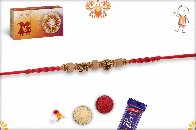 Exclusive Antique Flower Bead Rakhi with Square Sandalwood Beads | Send Rakhi Gifts Online 3