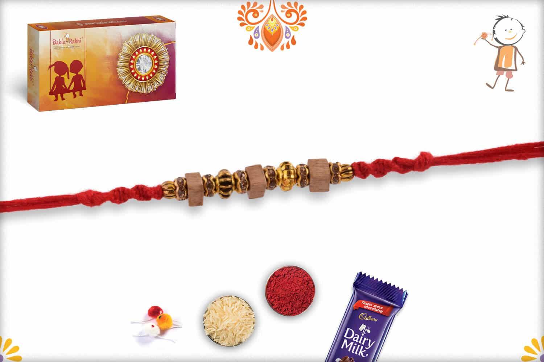 Stunning Square Sandalwood Bead Rakhi with Designer Beads   Send Rakhi Gifts Online 2