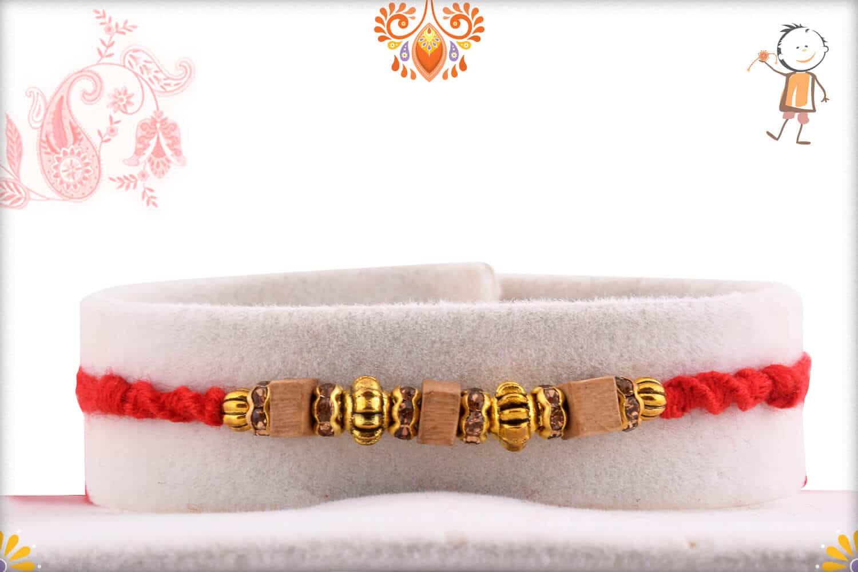 Stunning Square Sandalwood Bead Rakhi with Designer Beads   Send Rakhi Gifts Online 1