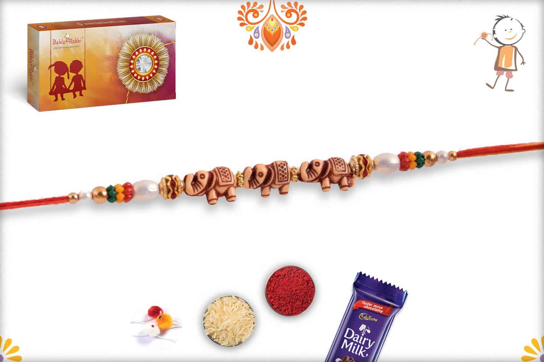 Three Elephant Rakhi with Pearls   Send Rakhi Gifts Online 3