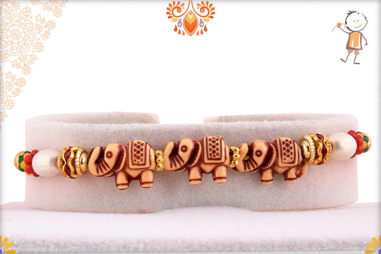 Three Elephant Rakhi with Pearls   Send Rakhi Gifts Online 1