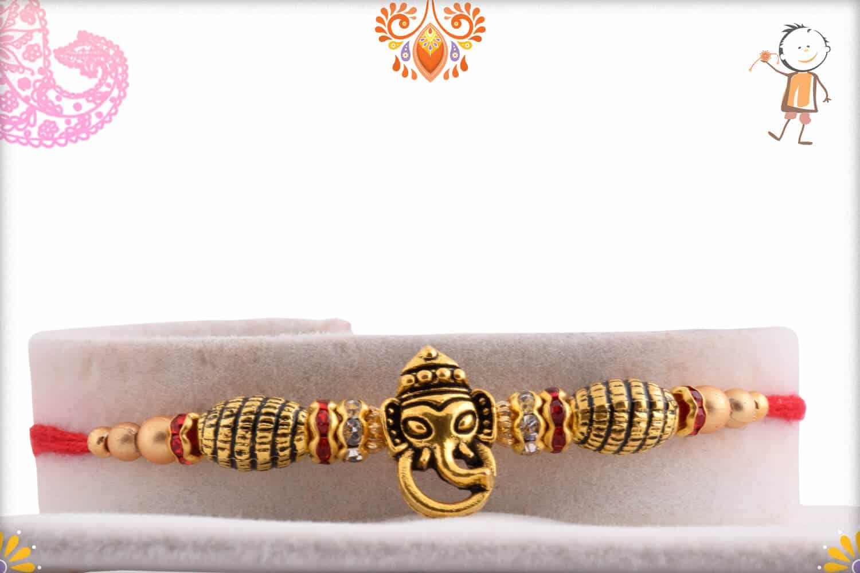 Antique Ganesh Rakhi with Designer Golden Beads | Send Rakhi Gifts Online 1