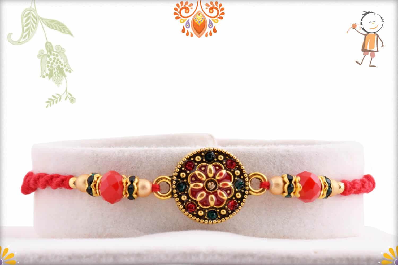 Fabulous Round Rakhi with Red-Green Diamonds   Send Rakhi Gifts Online 1