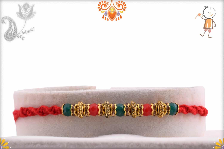 Red-Green Crystal Beads Rakhi | Send Rakhi Gifts Online 1