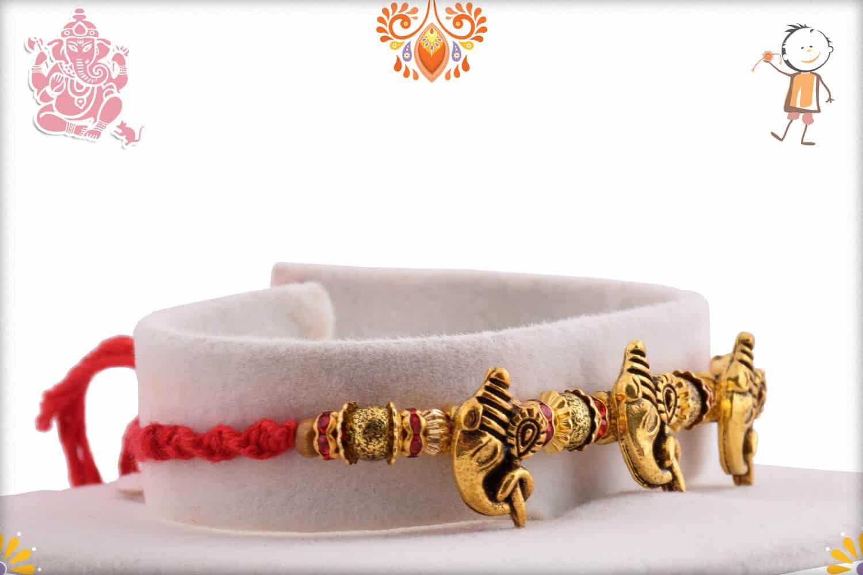 3 Antique Ganpati Rakhi with Beads 2