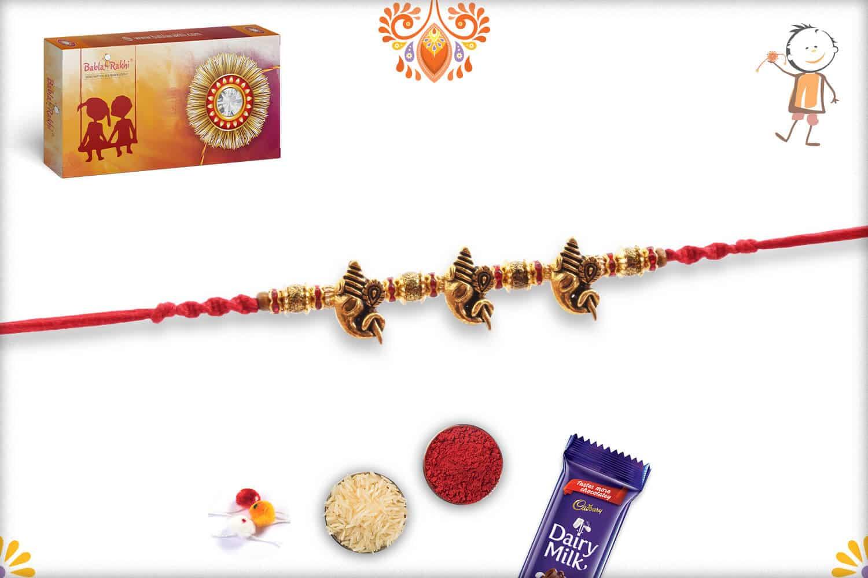 3 Antique Ganpati Rakhi with Beads 3