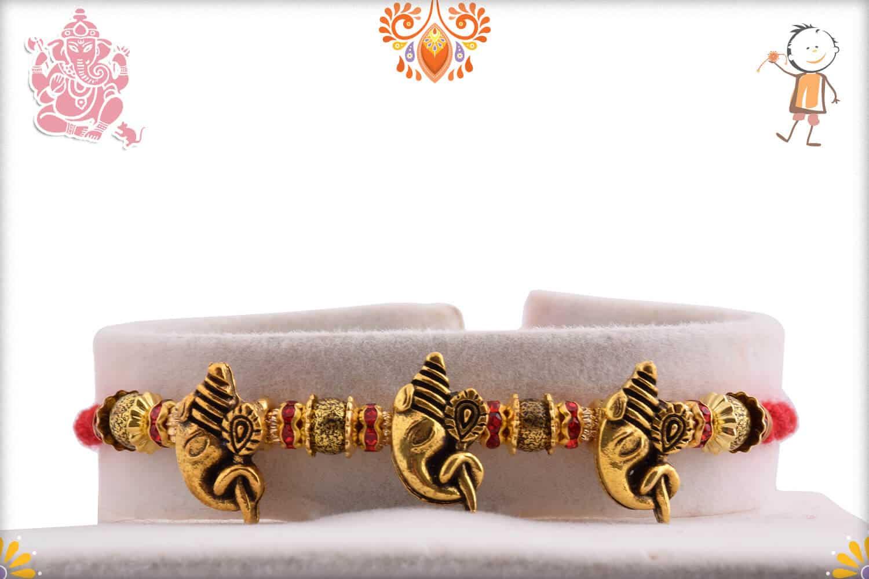3 Antique Ganpati Rakhi with Beads 1