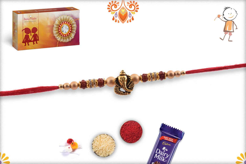 Antique Ganpati Rakhi with Golden Beads and Diamonds 2