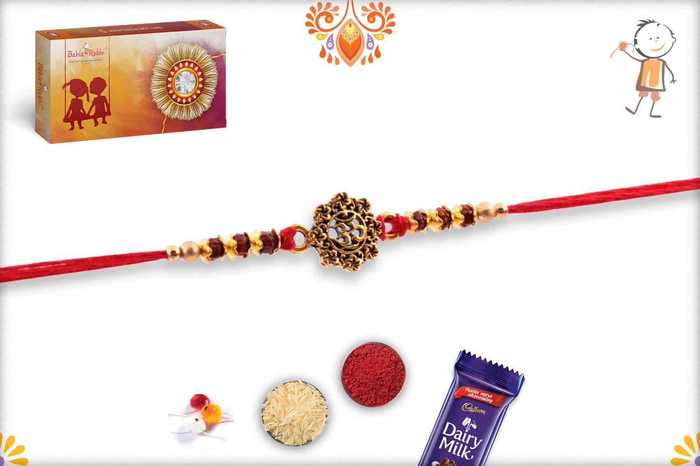 Antique Designer OM Rakhi with Beads   Send Rakhi Gifts Online 2