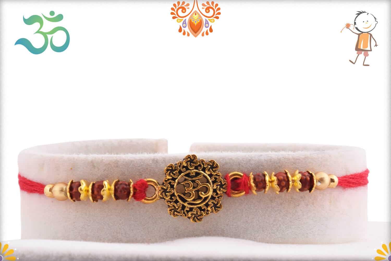 Antique Designer OM Rakhi with Beads   Send Rakhi Gifts Online 1