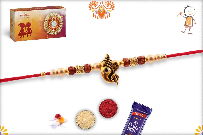 Divine Ganesh Rakhi with Golden Beads and Diamonds   Send Rakhi Gifts Online 2