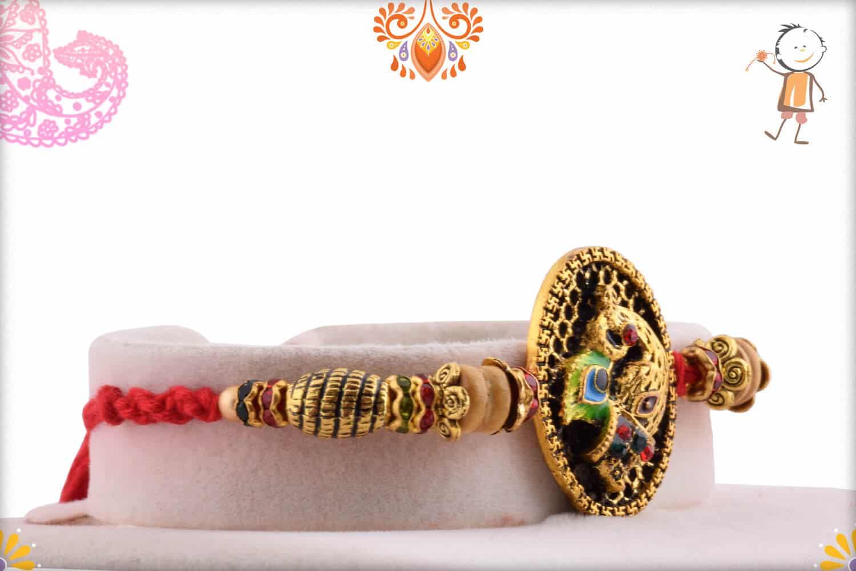Antique Peacock Rakhi with Sandalwood Beads | Send Rakhi Gifts Online 2