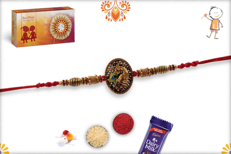 Antique Peacock Rakhi with Sandalwood Beads | Send Rakhi Gifts Online 3
