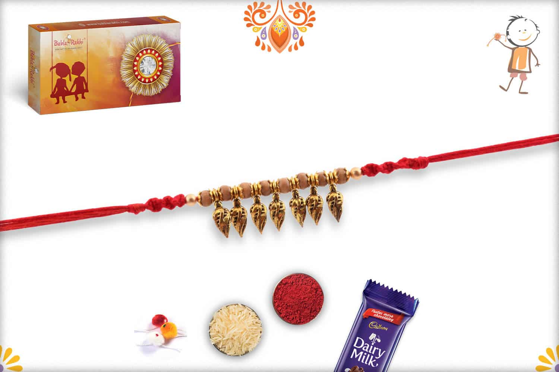 Hanging Leaves Rakhi with Sandalwood Beads | Send Rakhi Gifts Online 2
