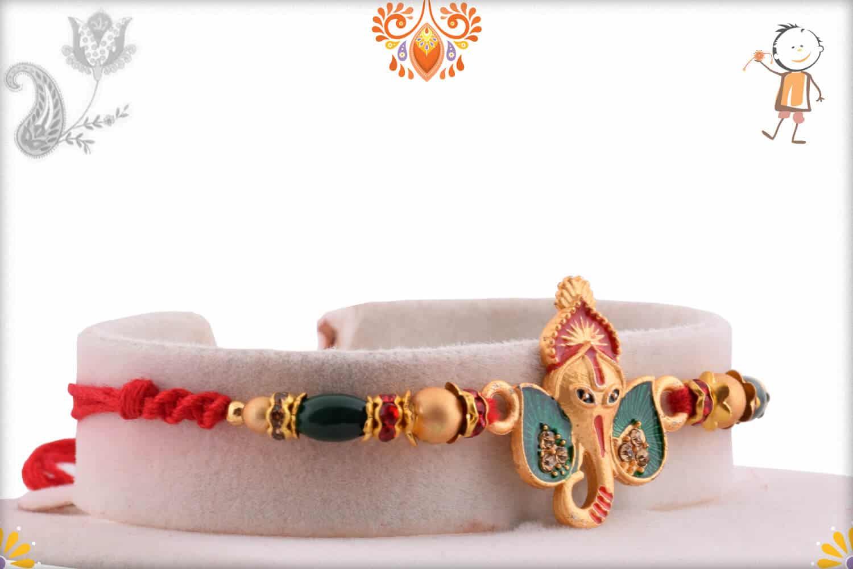 Unique Ganesh Rakhi with Green Beads   Send Rakhi Gifts Online 2