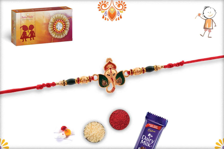 Unique Ganesh Rakhi with Green Beads   Send Rakhi Gifts Online 3