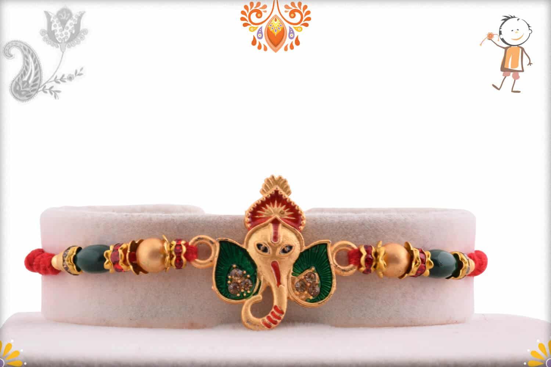 Unique Ganesh Rakhi with Green Beads   Send Rakhi Gifts Online 1