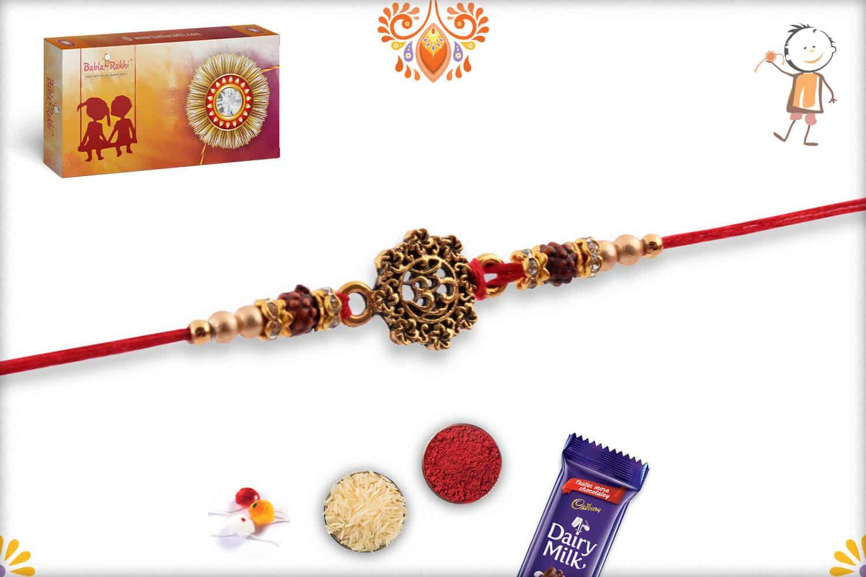 Antique Designer OM Rakhi with Golden Beads | Send Rakhi Gifts Online 2