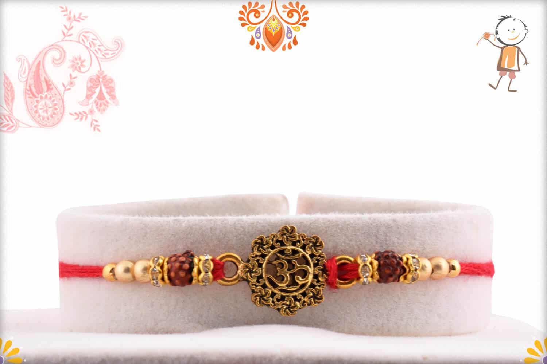 Antique Designer OM Rakhi with Golden Beads | Send Rakhi Gifts Online 1