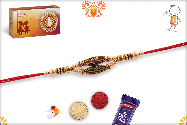 Unique Designer Rakhi with Golden Beads | Send Rakhi Gifts Online 2