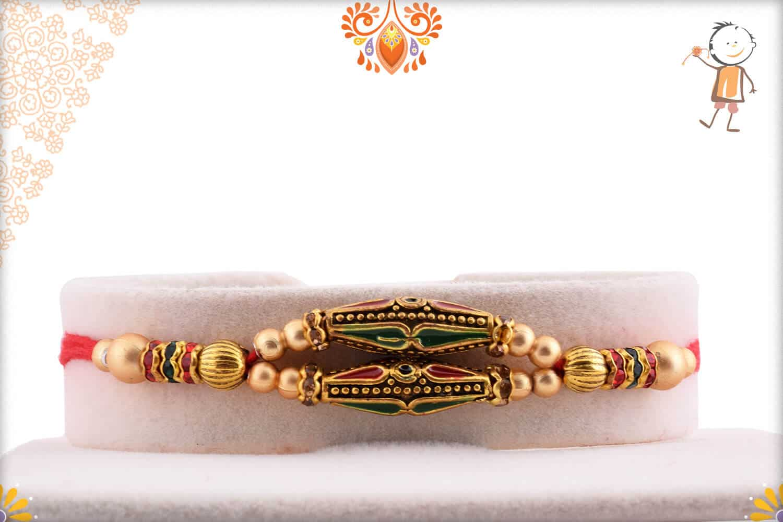 Unique Designer Rakhi with Golden Beads | Send Rakhi Gifts Online 1