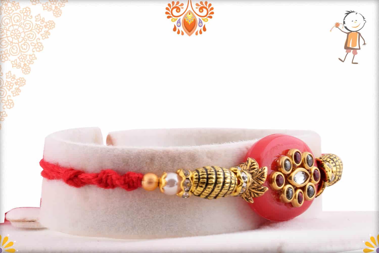 Stunning Red Kundan Rakhi with Designer Beads   Send Rakhi Gifts Online 2