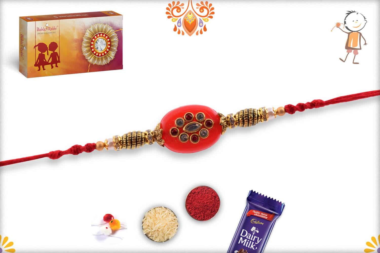 Stunning Red Kundan Rakhi with Designer Beads   Send Rakhi Gifts Online 3