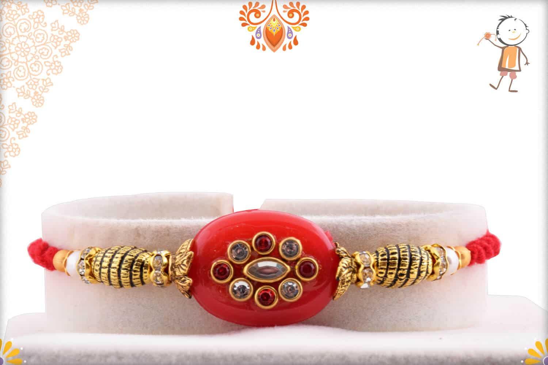 Stunning Red Kundan Rakhi with Designer Beads   Send Rakhi Gifts Online 1