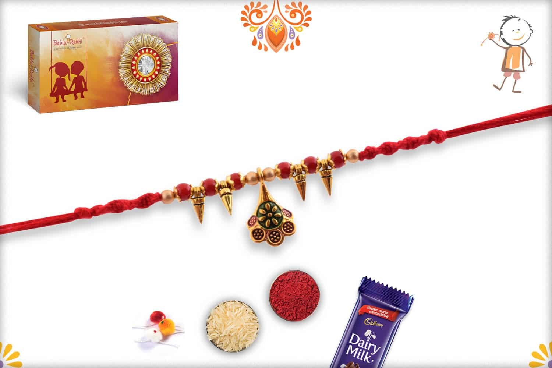Unique Hanging Rakhi with Red Beads | Send Rakhi Gifts Online 2