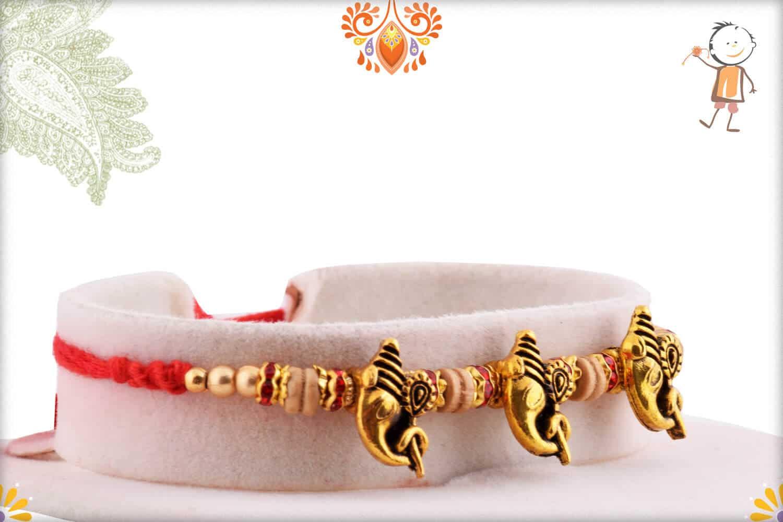 3 Antique Ganpati Rakhi with Sandalwood Beads   Send Rakhi Gifts Online 2