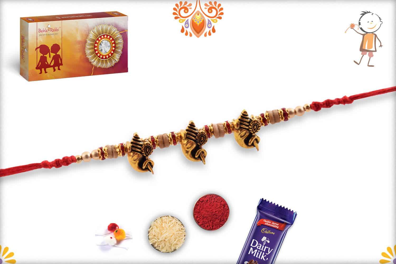 3 Antique Ganpati Rakhi with Sandalwood Beads   Send Rakhi Gifts Online 3