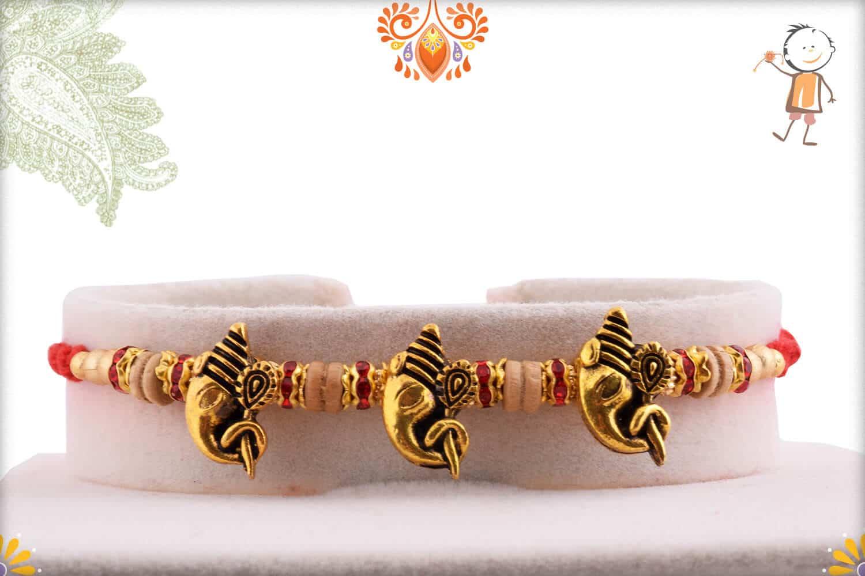 3 Antique Ganpati Rakhi with Sandalwood Beads   Send Rakhi Gifts Online 1