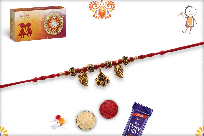 Hanging Leaves Rakhi with Flower Beads | Send Rakhi Gifts Online 2