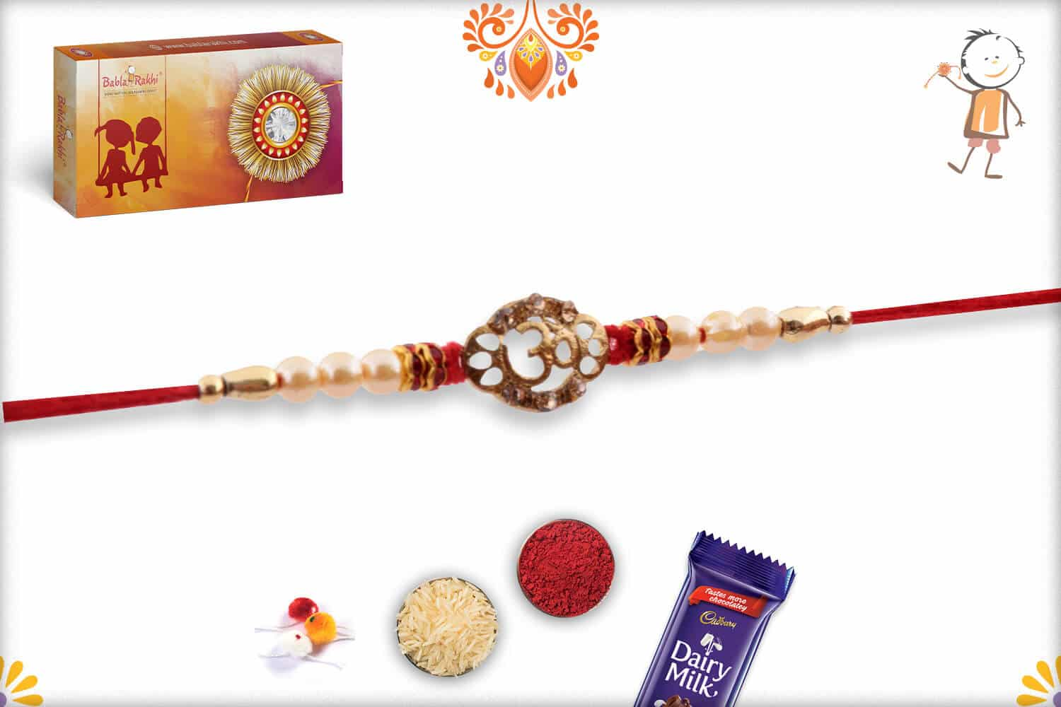 OM with Pearls Rakhi 3