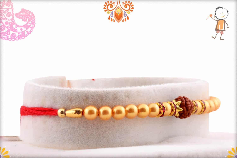 Rudraksh with Pearl and Diamond Rakhi | Send Rakhi Gifts Online 2