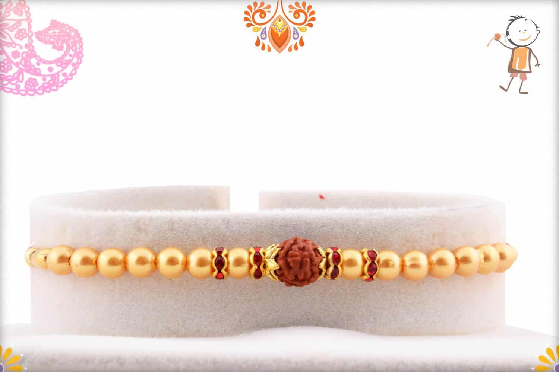 Rudraksh with Pearl and Diamond Rakhi | Send Rakhi Gifts Online 1