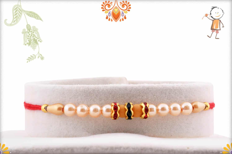Dazzling Diamond with Beautiful Pearl Rakhi | Send Rakhi Gifts Online 1