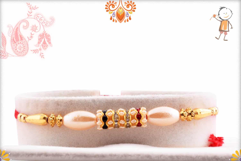 Oval Pearl Rakhi with Diamonds   Send Rakhi Gifts Online 1