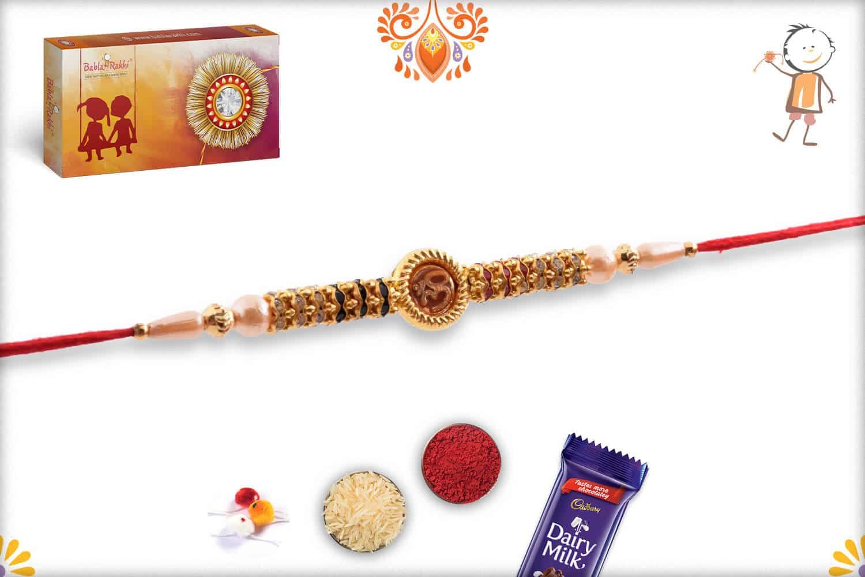 OM with Swastik Pearl Rakhi | Send Rakhi Gifts Online 3