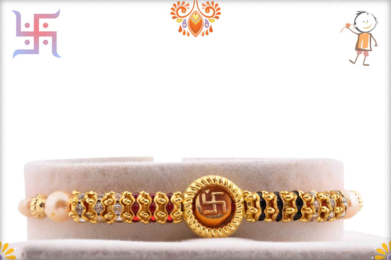 OM with Swastik Pearl Rakhi | Send Rakhi Gifts Online 1