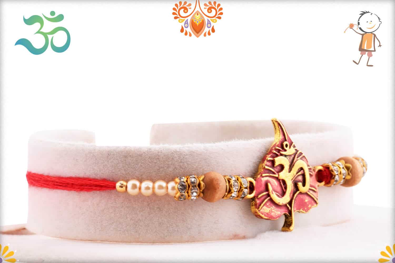 Om with Beautiful Leaf Pearl Rakhi | Send Rakhi Gifts Online 2