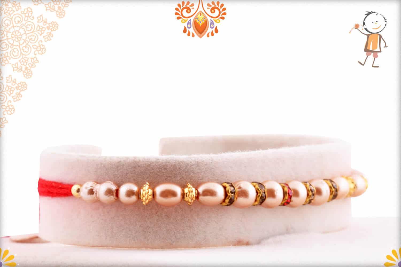 Premium Pearl Rakhi with Diamond Rings 2