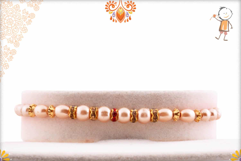 Premium Pearl Rakhi with Diamond Rings 1