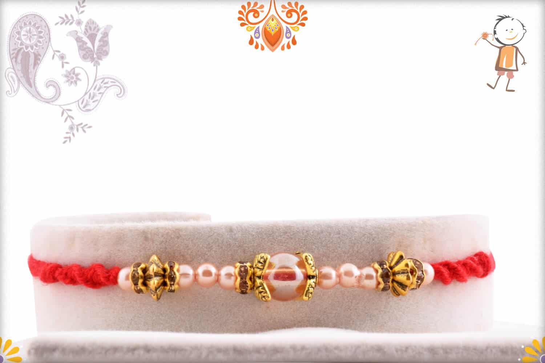 Exclusive Pearl Rakhi with Designer Metal Beads | Send Rakhi Gifts Online 1